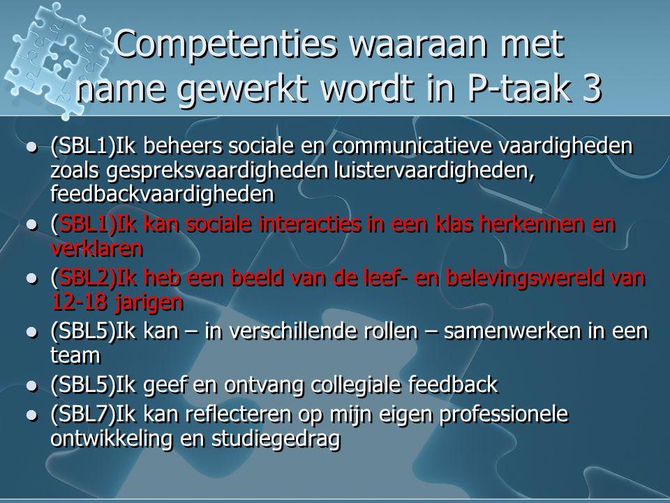 Competenties waaraan met name gewerkt wordt in P-taak 3 (SBL1)Ik beheers sociale en communicatieve vaardigheden zoals gespreksvaardigheden luistervaar