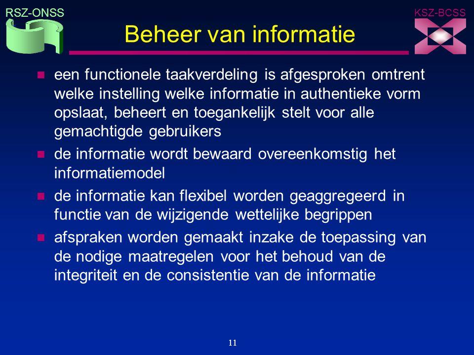 KSZ-BCSS RSZ-ONSS 11 Beheer van informatie n een functionele taakverdeling is afgesproken omtrent welke instelling welke informatie in authentieke vor