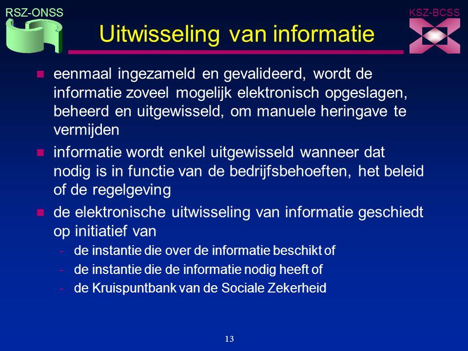 KSZ-BCSS RSZ-ONSS 13 Uitwisseling van informatie n eenmaal ingezameld en gevalideerd, wordt de informatie zoveel mogelijk elektronisch opgeslagen, beh