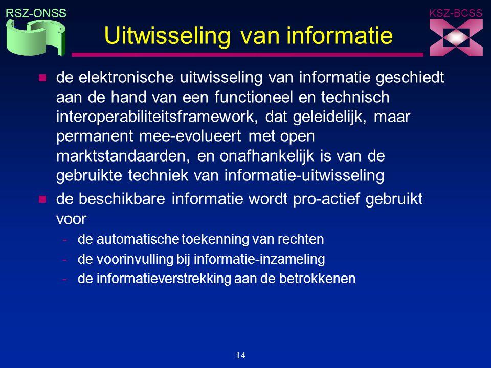 KSZ-BCSS RSZ-ONSS 14 Uitwisseling van informatie n de elektronische uitwisseling van informatie geschiedt aan de hand van een functioneel en technisch