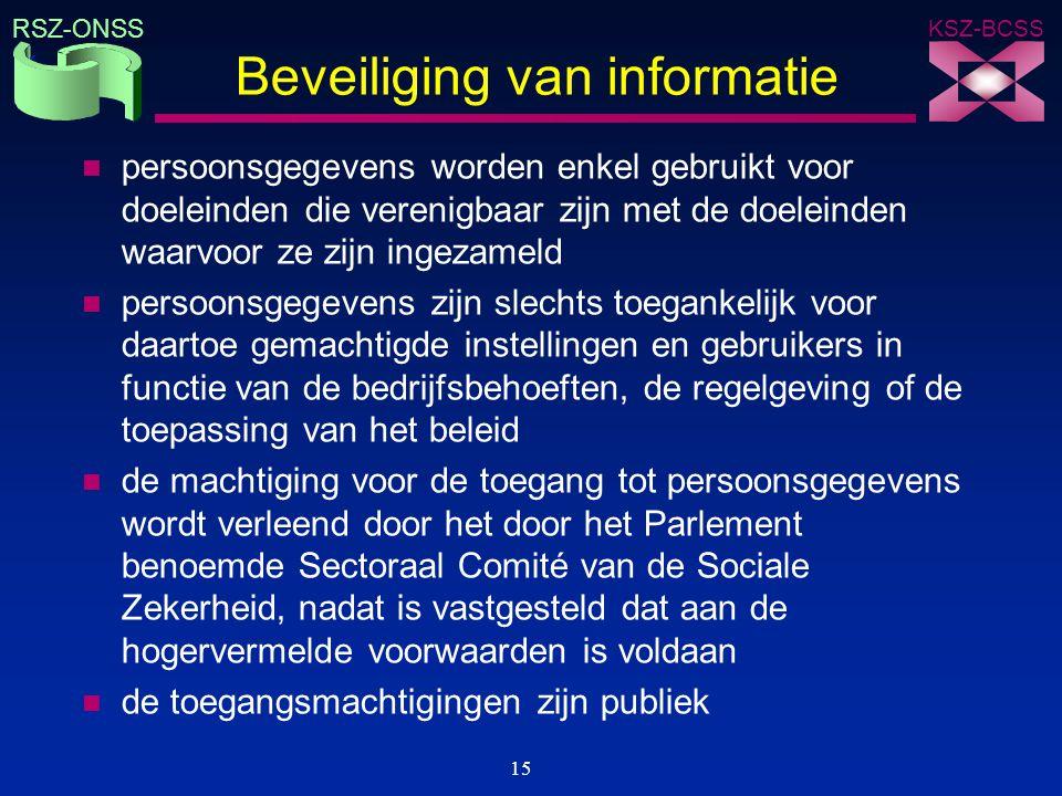 KSZ-BCSS RSZ-ONSS 15 Beveiliging van informatie n persoonsgegevens worden enkel gebruikt voor doeleinden die verenigbaar zijn met de doeleinden waarvo