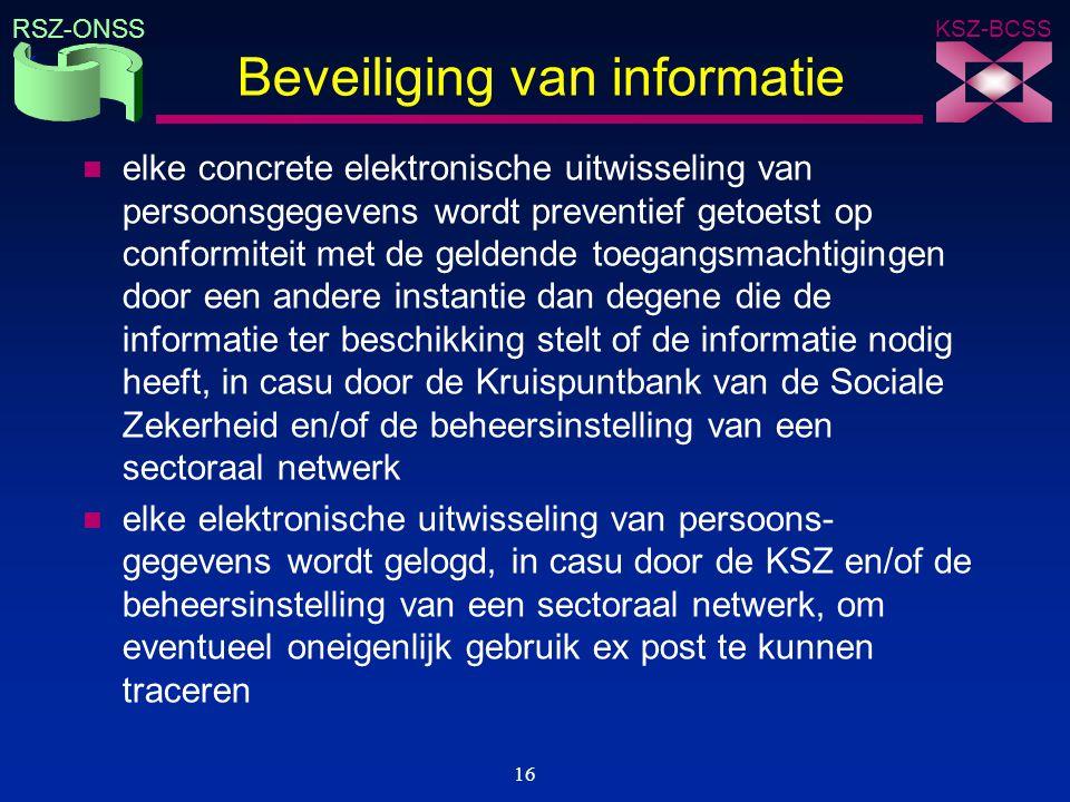KSZ-BCSS RSZ-ONSS 16 Beveiliging van informatie n elke concrete elektronische uitwisseling van persoonsgegevens wordt preventief getoetst op conformit