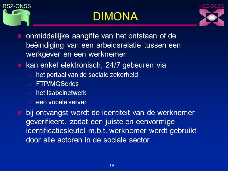 KSZ-BCSS RSZ-ONSS 19 DIMONA n onmiddellijke aangifte van het ontstaan of de beëindiging van een arbeidsrelatie tussen een werkgever en een werknemer n