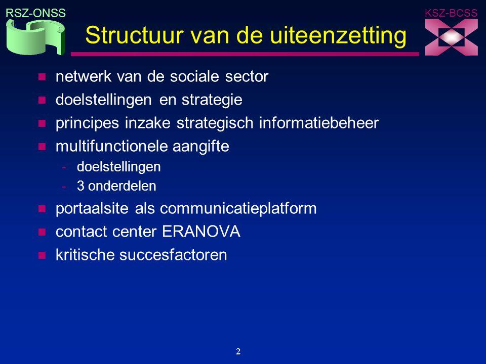 KSZ-BCSS RSZ-ONSS 33 Kritische succesfactoren n e-government als een structureel hervormingsproces -re-engineering van processen binnen en over actoren heen -integratie van de back-offices als basis voor hergebruik van informatie en de automatische toekenning van rechten -geïntegreerde en gepersonaliseerde front-office dienstverlening n ondersteuning van en toegang tot beleidsvormers tot op het hoogste niveau n samenwerking tussen alle betrokken actoren gebaseerd op een taakverdeling eerder dan op een centralisering van de taken n quick wins in combinatie met een visie op lange termijn n focus op een meer efficiënte en effectieve dienstverlening eerder dan op de strijd tegen fraude n inachtneming van de wettelijke bevoegdheidsverdeling tussen de actoren n wettelijk kader n oprichting van een instelling die bevordert en coördineert