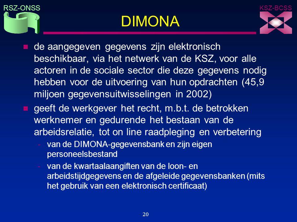KSZ-BCSS RSZ-ONSS 20 DIMONA n de aangegeven gegevens zijn elektronisch beschikbaar, via het netwerk van de KSZ, voor alle actoren in de sociale sector