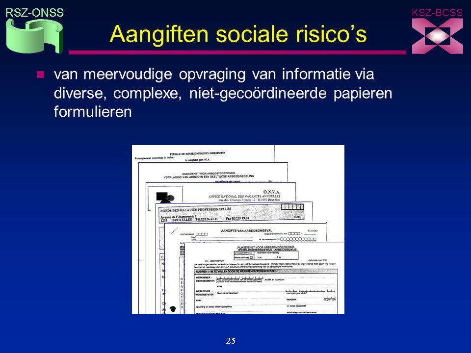KSZ-BCSS RSZ-ONSS 25 Aangiften sociale risico's n van meervoudige opvraging van informatie via diverse, complexe, niet-gecoördineerde papieren formuli