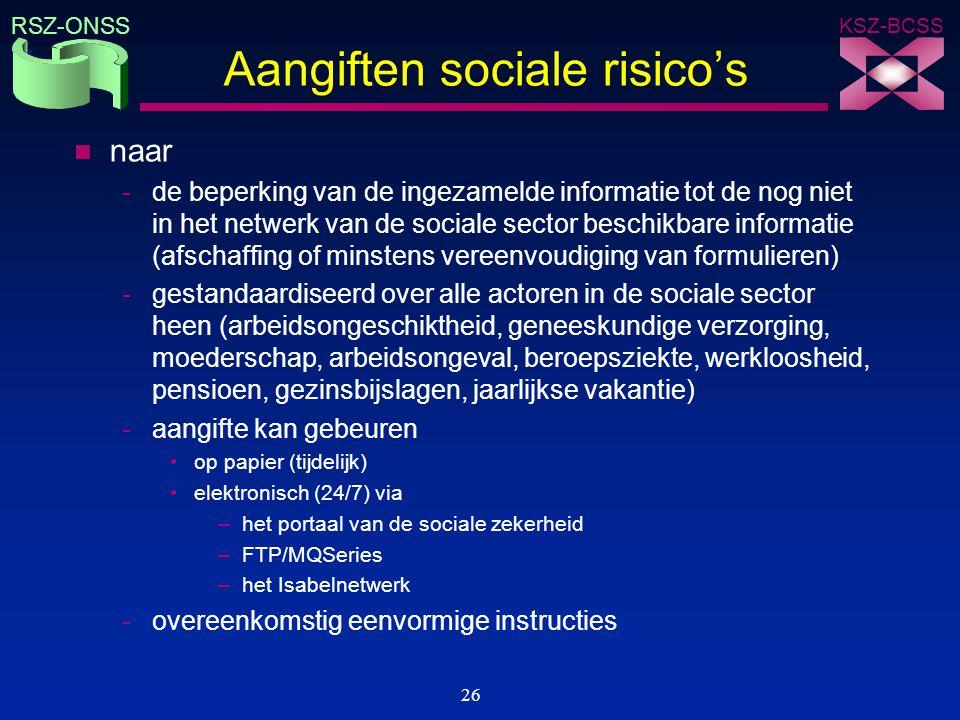 KSZ-BCSS RSZ-ONSS 26 Aangiften sociale risico's n naar -de beperking van de ingezamelde informatie tot de nog niet in het netwerk van de sociale secto