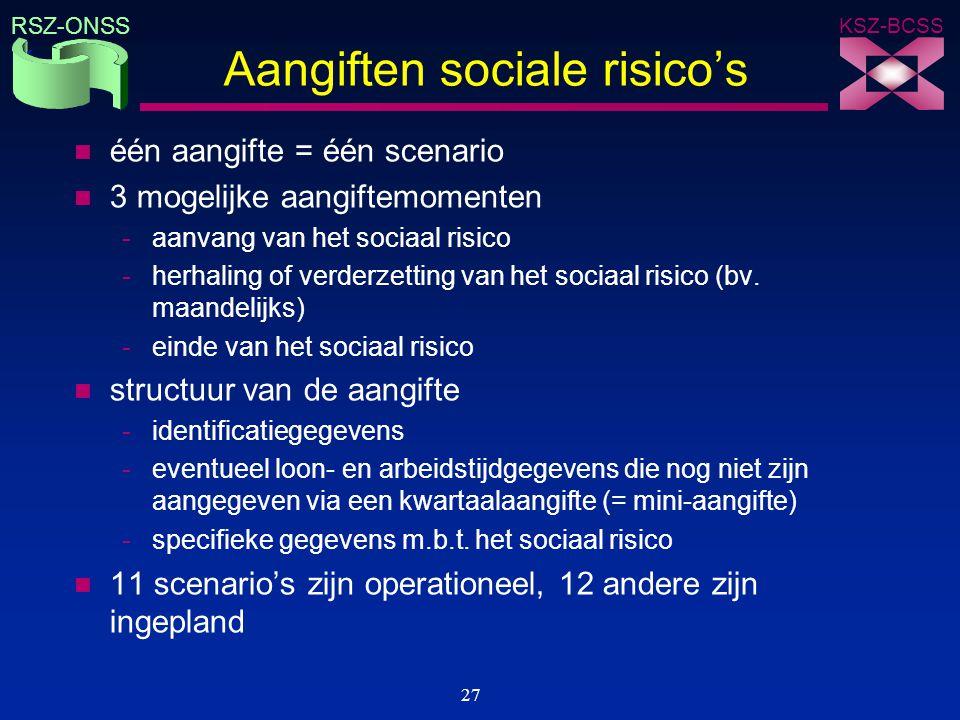 KSZ-BCSS RSZ-ONSS 27 Aangiften sociale risico's n één aangifte = één scenario n 3 mogelijke aangiftemomenten -aanvang van het sociaal risico -herhalin