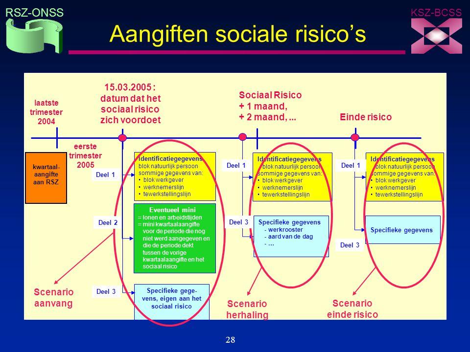 KSZ-BCSS RSZ-ONSS 28 Aangiften sociale risico's Identificatiegegevens blok natuurlijk persoon sommige gegevens van: blok werkgever werknemerslijn tewe