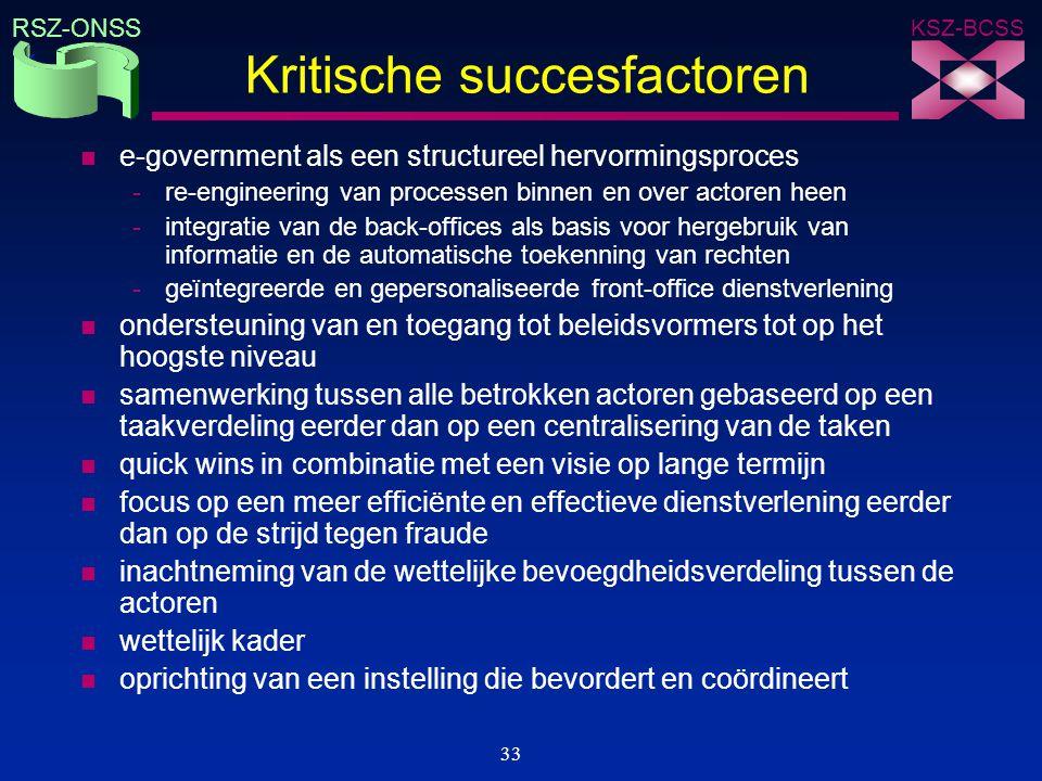 KSZ-BCSS RSZ-ONSS 33 Kritische succesfactoren n e-government als een structureel hervormingsproces -re-engineering van processen binnen en over actore
