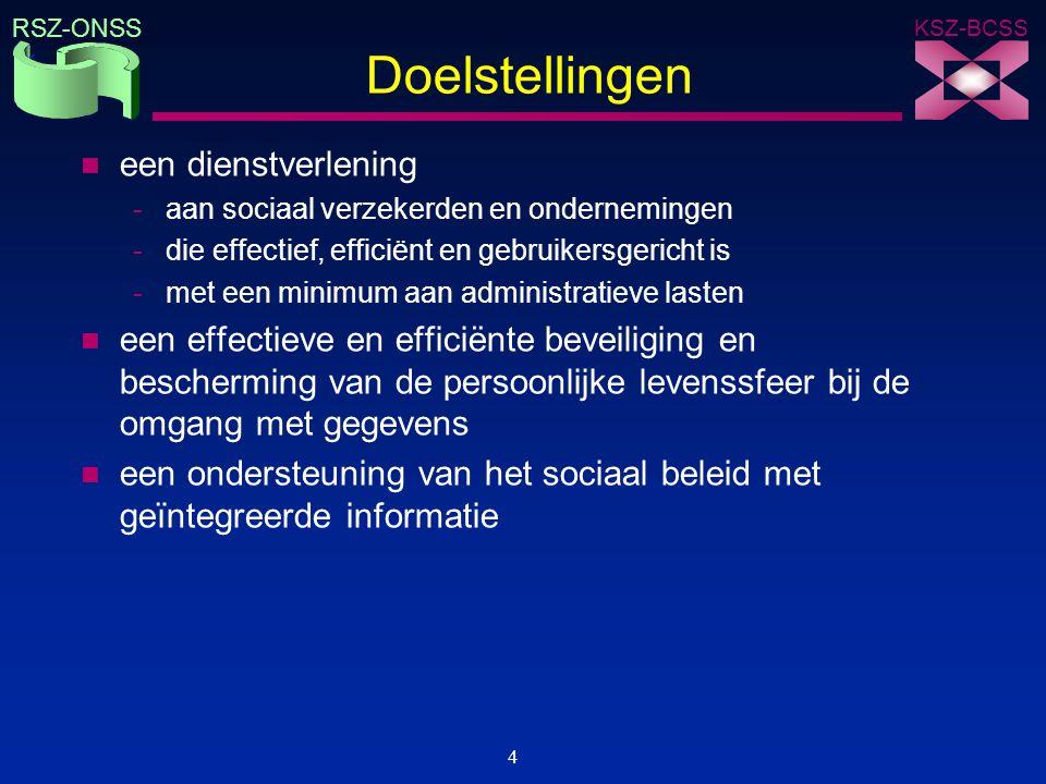 KSZ-BCSS RSZ-ONSS 4 Doelstellingen n een dienstverlening -aan sociaal verzekerden en ondernemingen -die effectief, efficiënt en gebruikersgericht is -