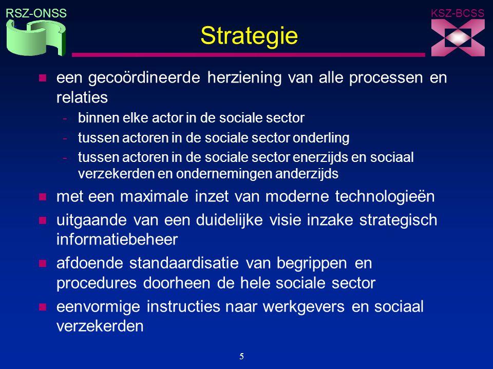 KSZ-BCSS RSZ-ONSS 5 Strategie n een gecoördineerde herziening van alle processen en relaties -binnen elke actor in de sociale sector -tussen actoren i