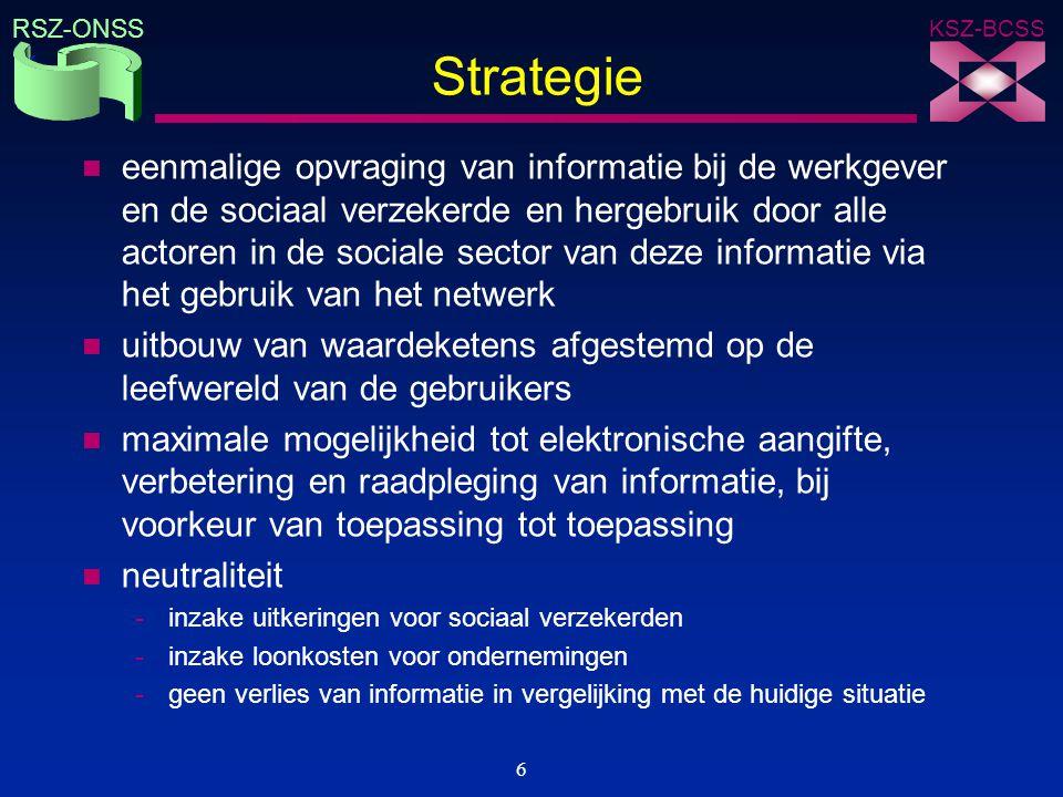KSZ-BCSS RSZ-ONSS 7 Visie strategisch informatiebeheer n modellering van informatie n eenmalige inzameling en hergebruik van informatie n beheer van informatie n elektronische uitwisseling van informatie n beveiliging van informatie Informatie wordt gecoördineerd beheerd als een strategische productiefactor met naleving van een aantal vaste principes inzake