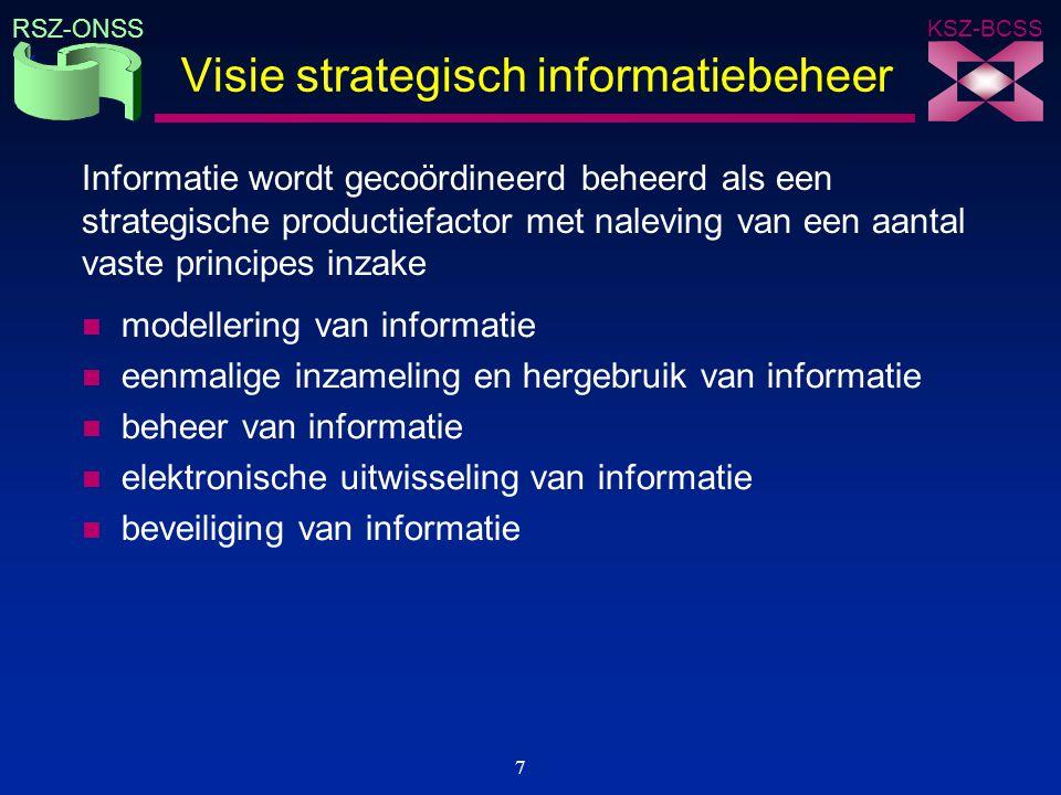 KSZ-BCSS RSZ-ONSS 7 Visie strategisch informatiebeheer n modellering van informatie n eenmalige inzameling en hergebruik van informatie n beheer van i