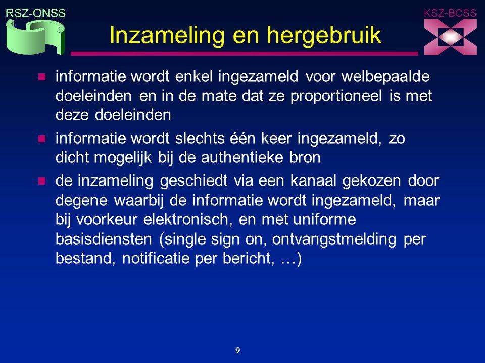 KSZ-BCSS RSZ-ONSS 9 Inzameling en hergebruik n informatie wordt enkel ingezameld voor welbepaalde doeleinden en in de mate dat ze proportioneel is met