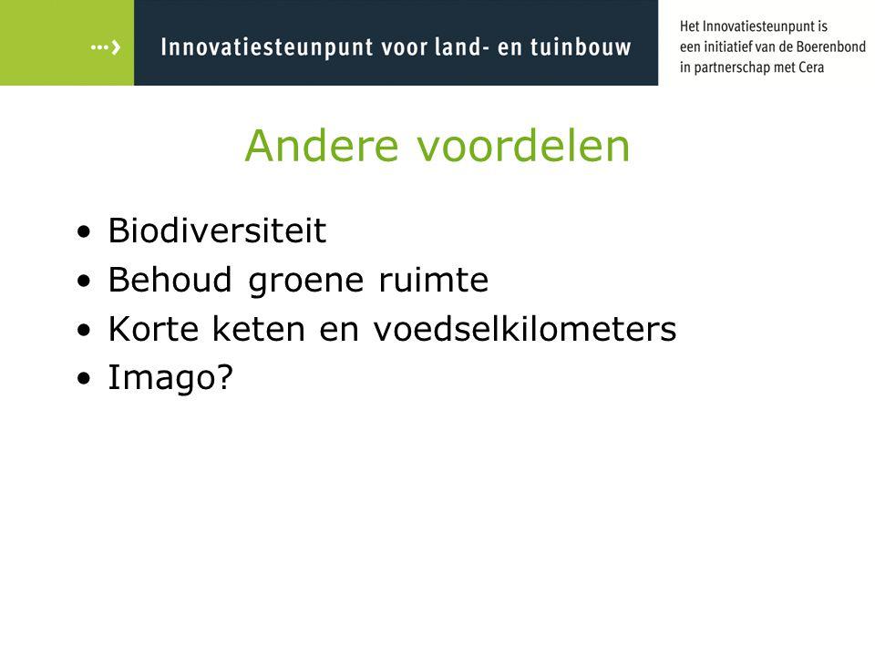 Andere voordelen Biodiversiteit Behoud groene ruimte Korte keten en voedselkilometers Imago?