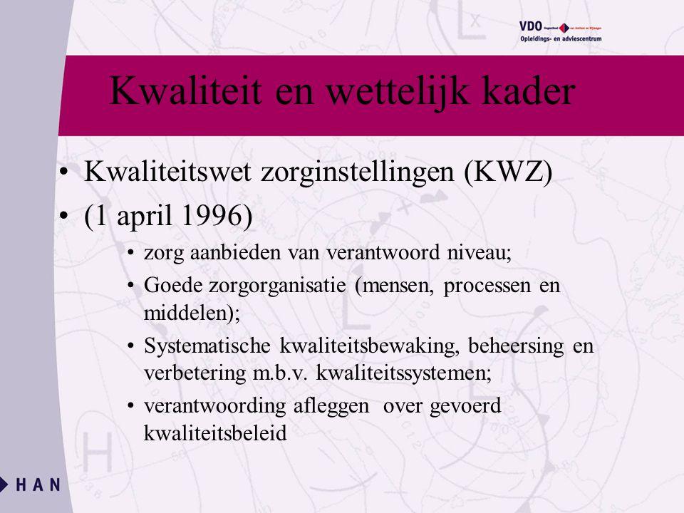 Kwaliteit en wettelijk kader Kwaliteitswet zorginstellingen (KWZ) (1 april 1996) zorg aanbieden van verantwoord niveau; Goede zorgorganisatie (mensen, processen en middelen); Systematische kwaliteitsbewaking, beheersing en verbetering m.b.v.