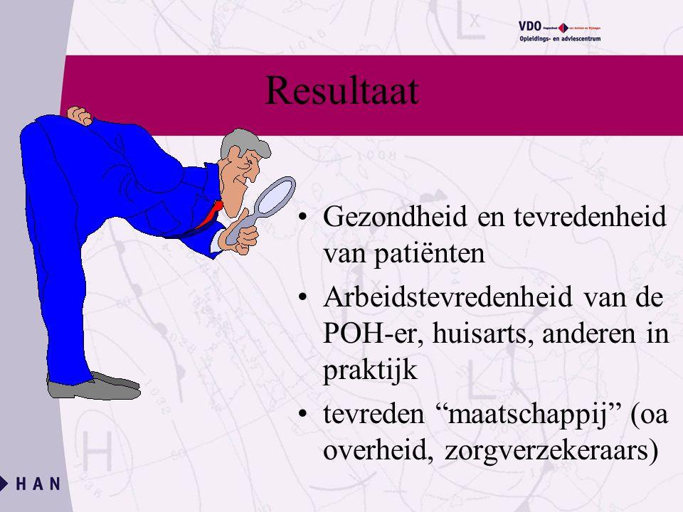 Resultaat Gezondheid en tevredenheid van patiënten Arbeidstevredenheid van de POH-er, huisarts, anderen in praktijk tevreden maatschappij (oa overheid, zorgverzekeraars)