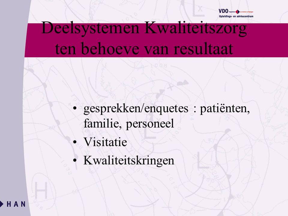 Deelsystemen Kwaliteitszorg ten behoeve van resultaat gesprekken/enquetes : patiënten, familie, personeel Visitatie Kwaliteitskringen