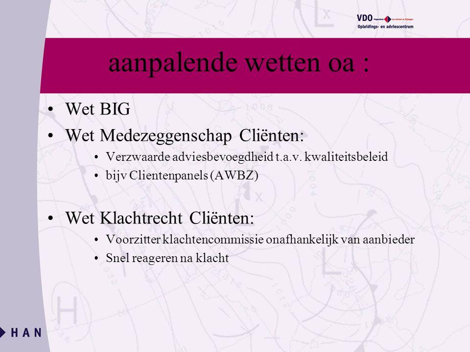 aanpalende wetten oa : Wet BIG Wet Medezeggenschap Cliënten: Verzwaarde adviesbevoegdheid t.a.v.