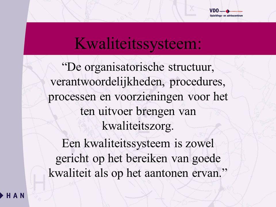 Kwaliteitssysteem: De organisatorische structuur, verantwoordelijkheden, procedures, processen en voorzieningen voor het ten uitvoer brengen van kwaliteitszorg.