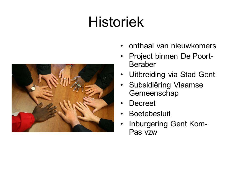 Historiek onthaal van nieuwkomers Project binnen De Poort- Beraber Uitbreiding via Stad Gent Subsidiëring Vlaamse Gemeenschap Decreet Boetebesluit Inburgering Gent Kom- Pas vzw
