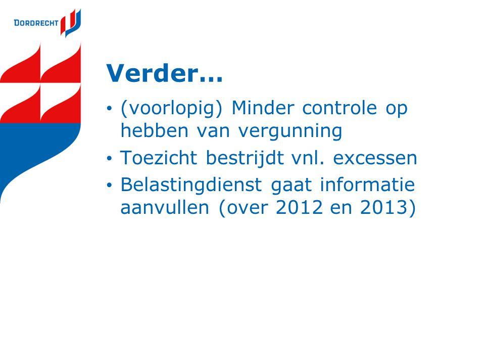 Verder… (voorlopig) Minder controle op hebben van vergunning Toezicht bestrijdt vnl.