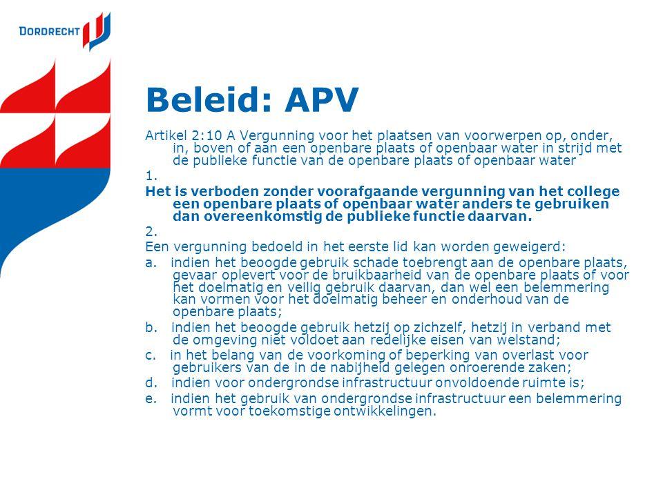 Beleid: APV Artikel 2:10 A Vergunning voor het plaatsen van voorwerpen op, onder, in, boven of aan een openbare plaats of openbaar water in strijd met de publieke functie van de openbare plaats of openbaar water 1.