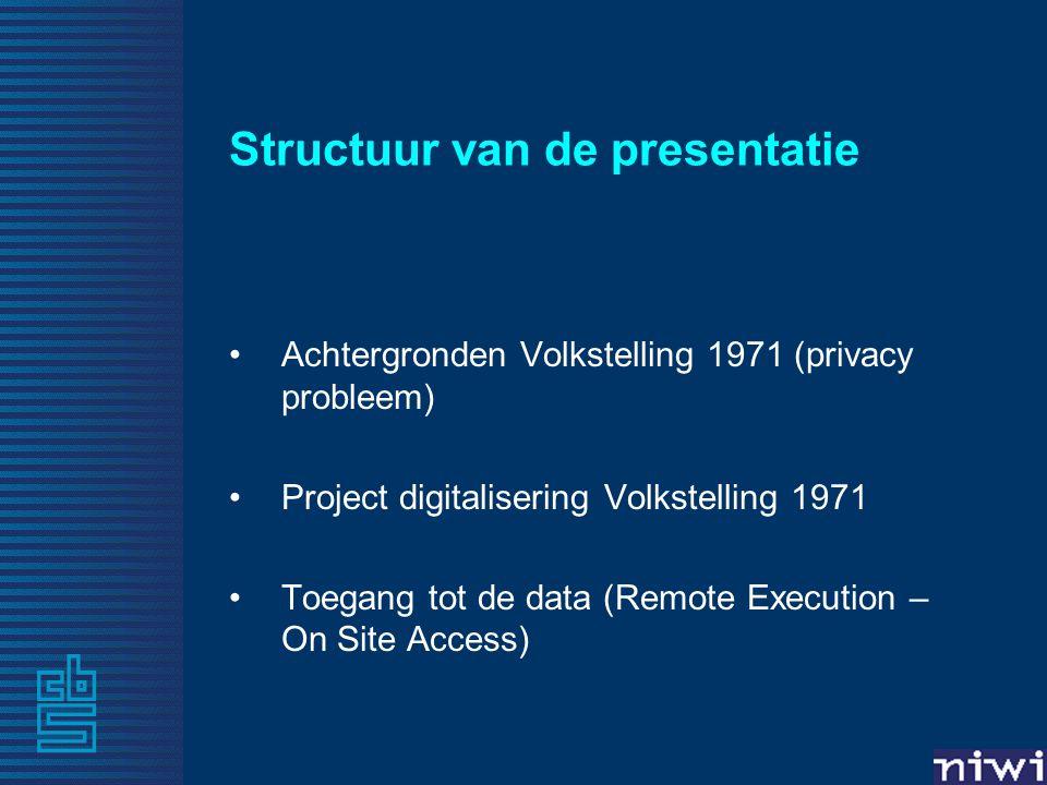 Structuur van de presentatie Achtergronden Volkstelling 1971 (privacy probleem) Project digitalisering Volkstelling 1971 Toegang tot de data (Remote E