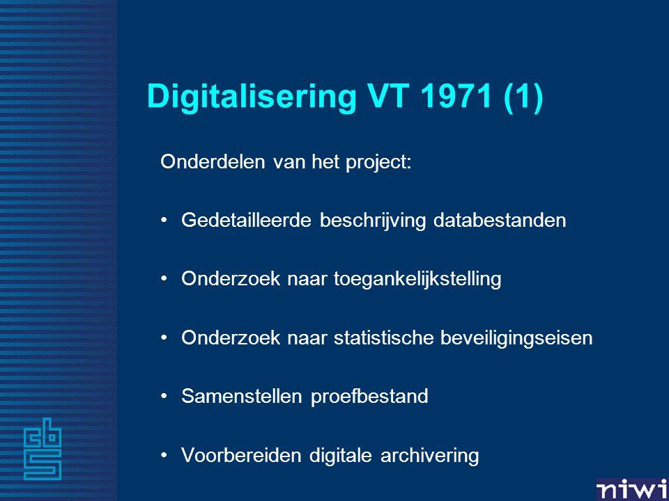 Digitalisering VT 1971 (2) 9 hiërarchische databestanden: Gemeente Wijk Buurt Wooncoördinaat Woning Huishouden 1960 Huishouden 1947 Vruchtbaarheid Individu