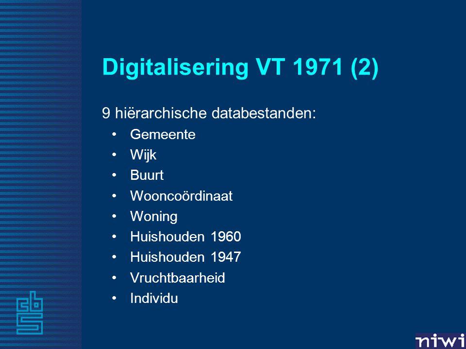Digitalisering VT 1971 (2) 9 hiërarchische databestanden: Gemeente Wijk Buurt Wooncoördinaat Woning Huishouden 1960 Huishouden 1947 Vruchtbaarheid Ind
