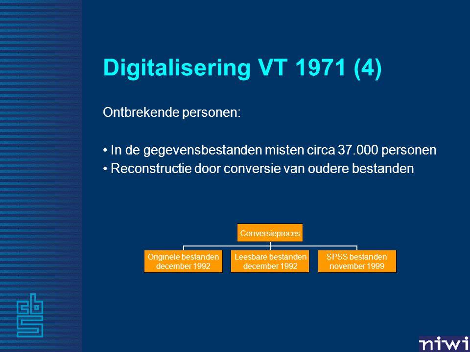 Digitalisering VT 1971 (4) Ontbrekende personen: In de gegevensbestanden misten circa 37.000 personen Reconstructie door conversie van oudere bestanden Conversieproces Originele bestanden december 1992 Leesbare bestanden december 1992 SPSS bestanden november 1999