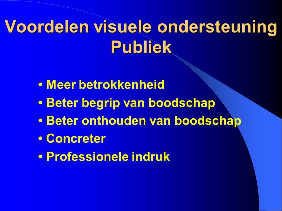 Voordelen visuele ondersteuning Publiek Meer betrokkenheid Beter begrip van boodschap Beter onthouden van boodschap Concreter Professionele indruk