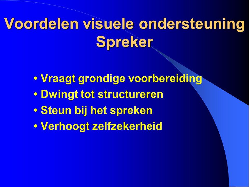 Voordelen visuele ondersteuning Spreker Vraagt grondige voorbereiding Dwingt tot structureren Steun bij het spreken Verhoogt zelfzekerheid