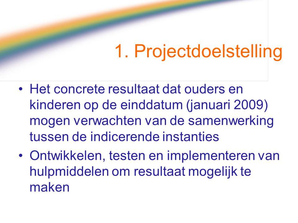 1. Projectdoelstelling Het concrete resultaat dat ouders en kinderen op de einddatum (januari 2009) mogen verwachten van de samenwerking tussen de ind