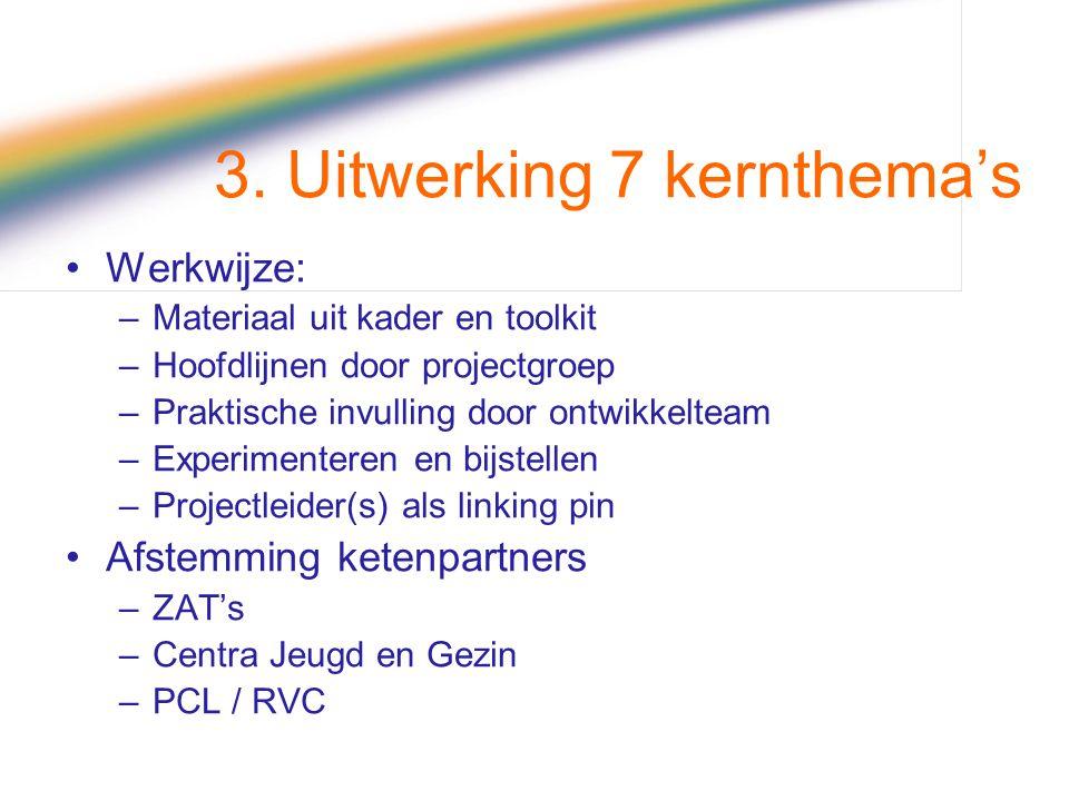 3. Uitwerking 7 kernthema's Werkwijze: –Materiaal uit kader en toolkit –Hoofdlijnen door projectgroep –Praktische invulling door ontwikkelteam –Experi
