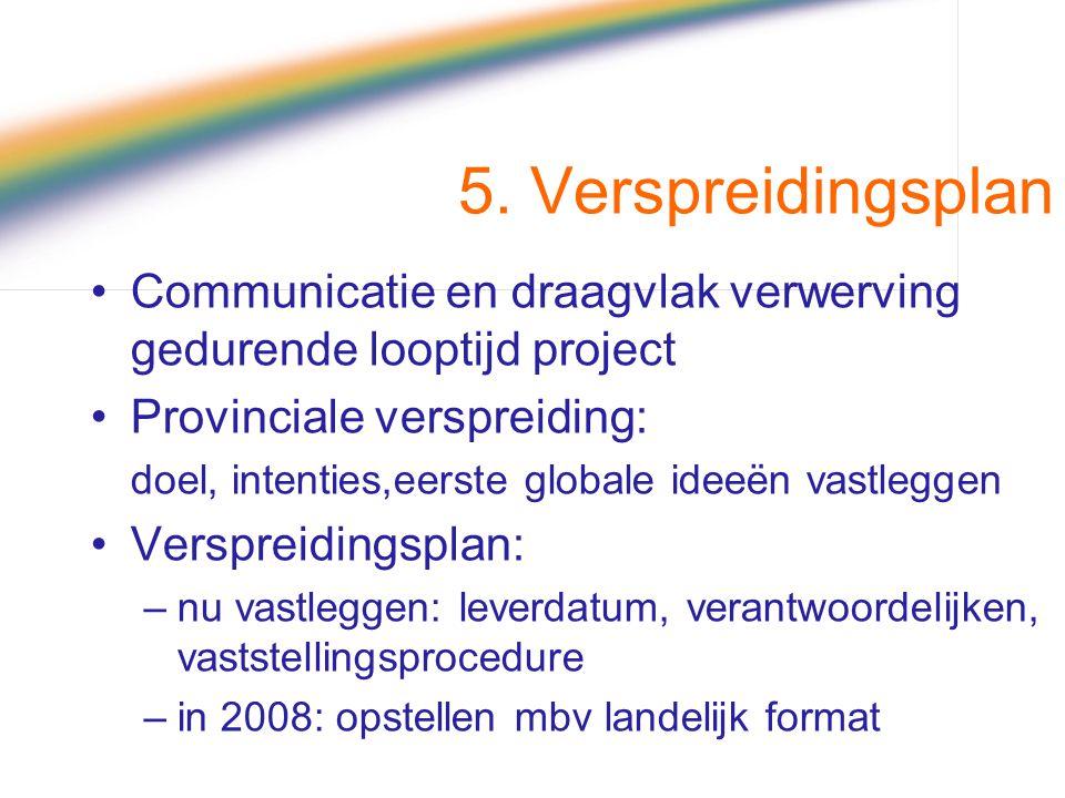 5. Verspreidingsplan Communicatie en draagvlak verwerving gedurende looptijd project Provinciale verspreiding: doel, intenties,eerste globale ideeën v