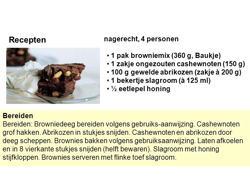 Bereiden Bereiden: Browniedeeg bereiden volgens gebruiks-aanwijzing. Cashewnoten grof hakken. Abrikozen in stukjes snijden. Cashewnoten en abrikozen d