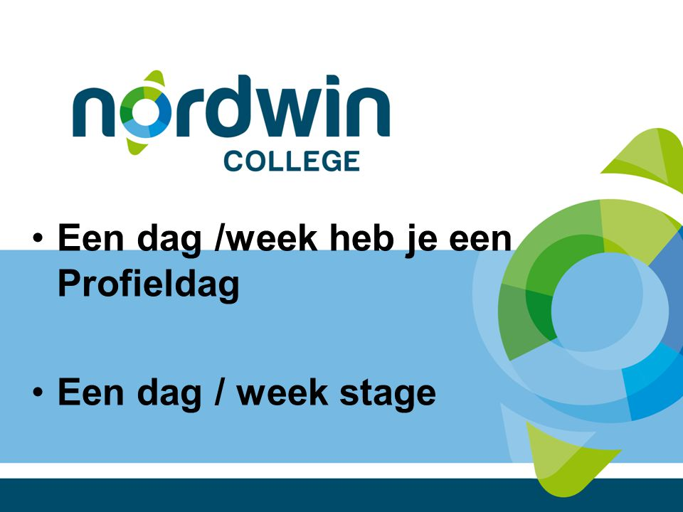 Een dag /week heb je een Profieldag Een dag / week stage