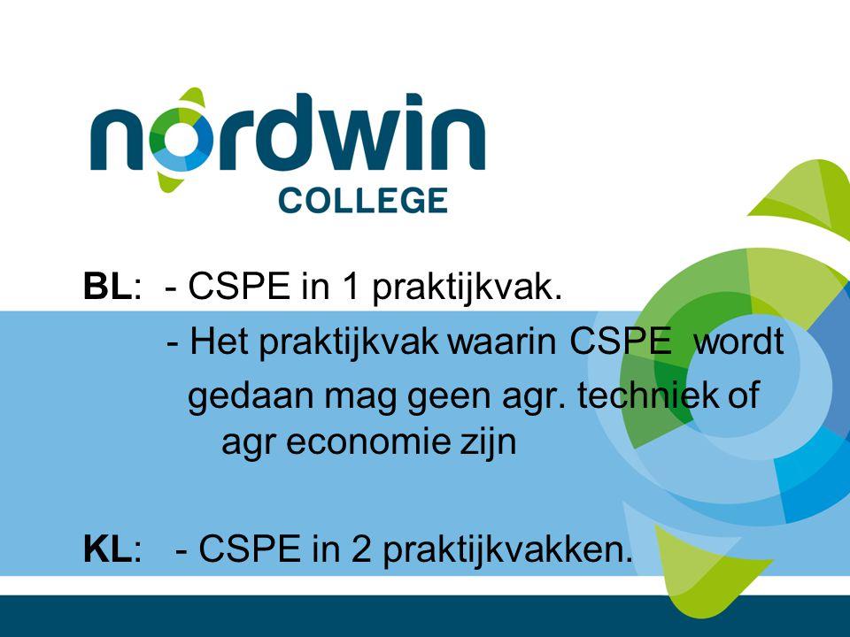 BL: - CSPE in 1 praktijkvak. - Het praktijkvak waarin CSPE wordt gedaan mag geen agr. techniek of agr economie zijn KL: - CSPE in 2 praktijkvakken.