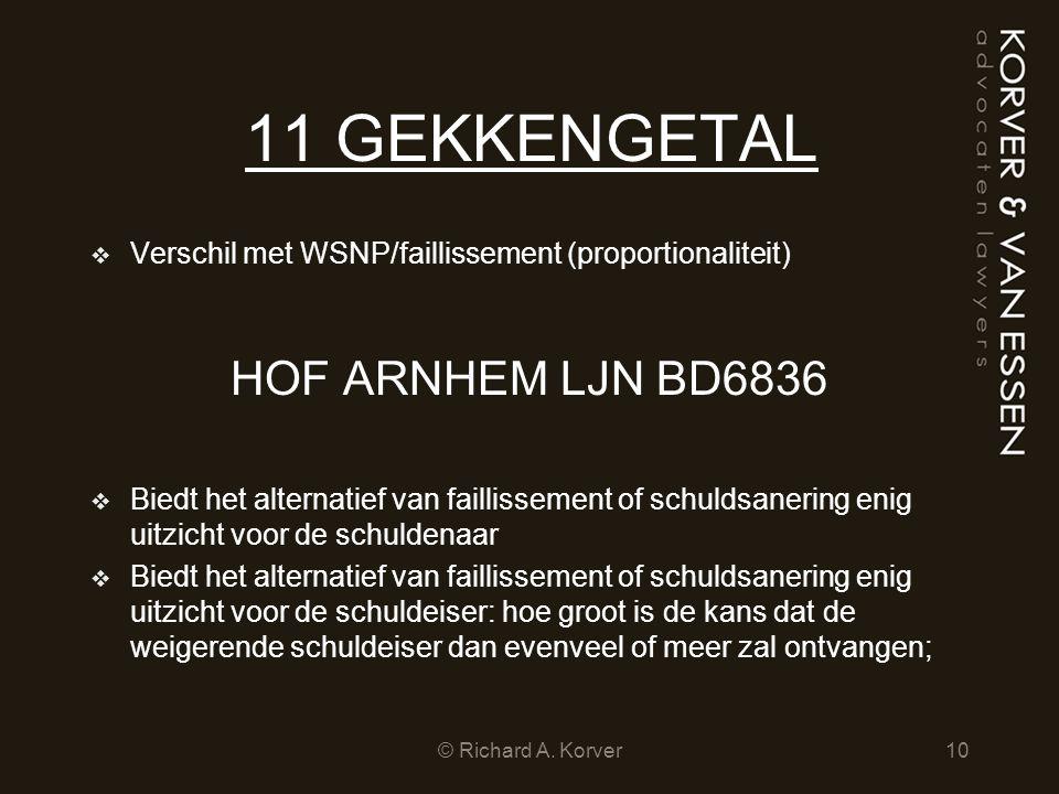 11 GEKKENGETAL  Verschil met WSNP/faillissement (proportionaliteit) HOF ARNHEM LJN BD6836  Biedt het alternatief van faillissement of schuldsanering