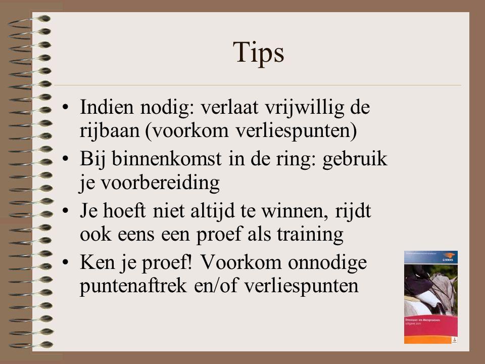 Tips Indien nodig: verlaat vrijwillig de rijbaan (voorkom verliespunten) Bij binnenkomst in de ring: gebruik je voorbereiding Je hoeft niet altijd te