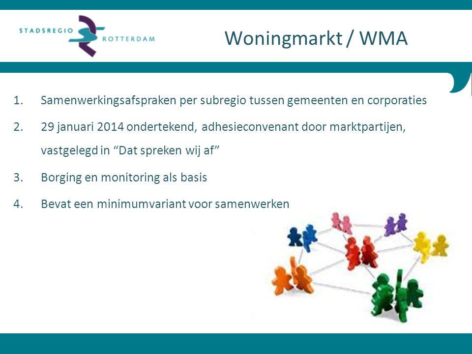 1. Samenwerkingsafspraken per subregio tussen gemeenten en corporaties 2. 29 januari 2014 ondertekend, adhesieconvenant door marktpartijen, vastgelegd
