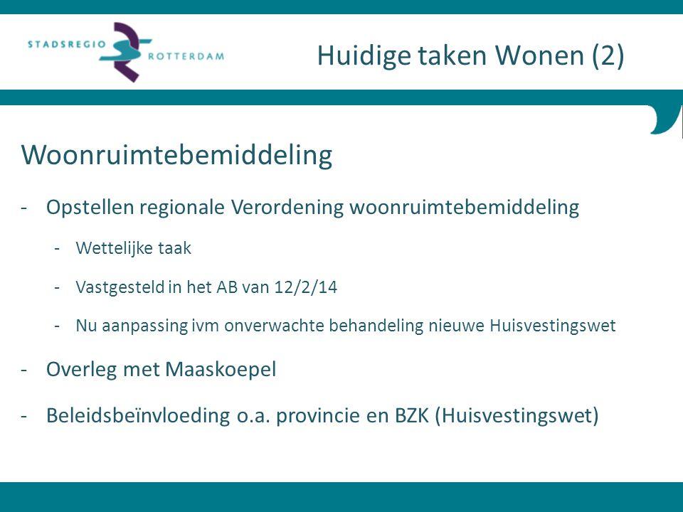 Woonruimtebemiddeling - Opstellen regionale Verordening woonruimtebemiddeling -Wettelijke taak -Vastgesteld in het AB van 12/2/14 -Nu aanpassing ivm o