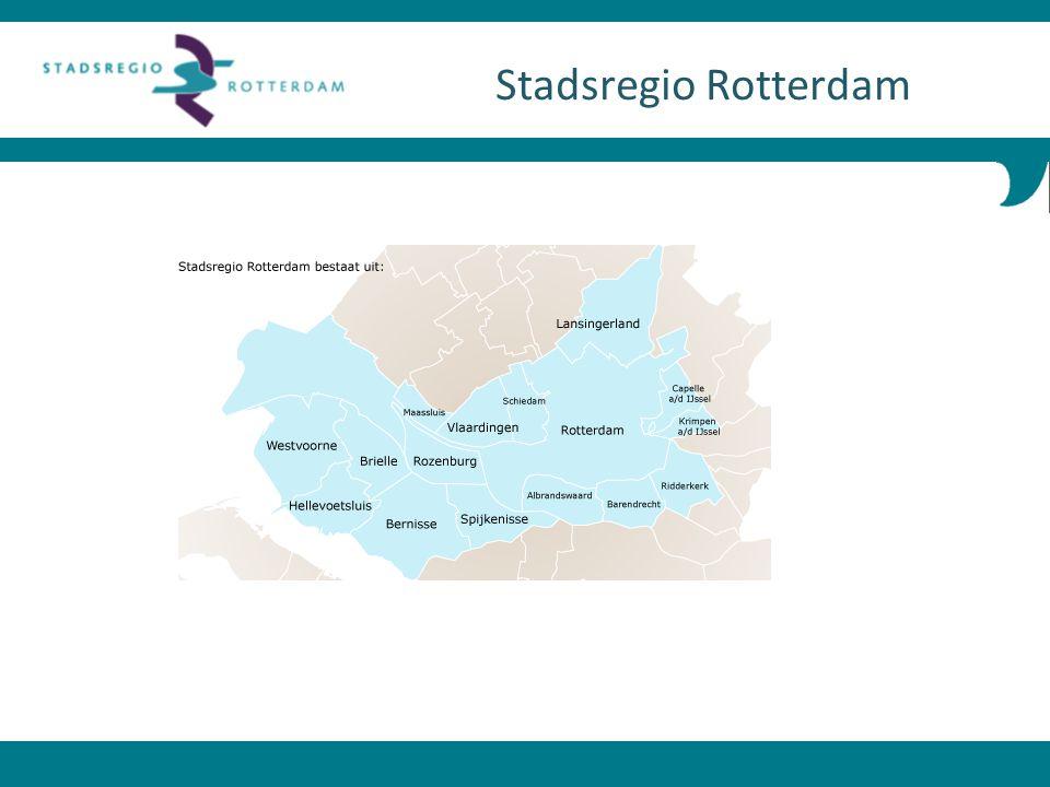 Wettelijke samenwerking van de 15 gemeenten in de regio Rijnmond Ca 45 x 12 km, 1,2 miljoen inwoners, 560.000 woningen Algemeen bestuur met alle gemeenten en dagelijks bestuur met portefeuillehouders (Wonen: Karssen) Portefeuillehoudersoverleggen met alle wethouders Kleine zelfstandige ambtelijke organisatie onder leiding van Jenny Fix (secretaris-directeur) Stadsregio Rotterdam