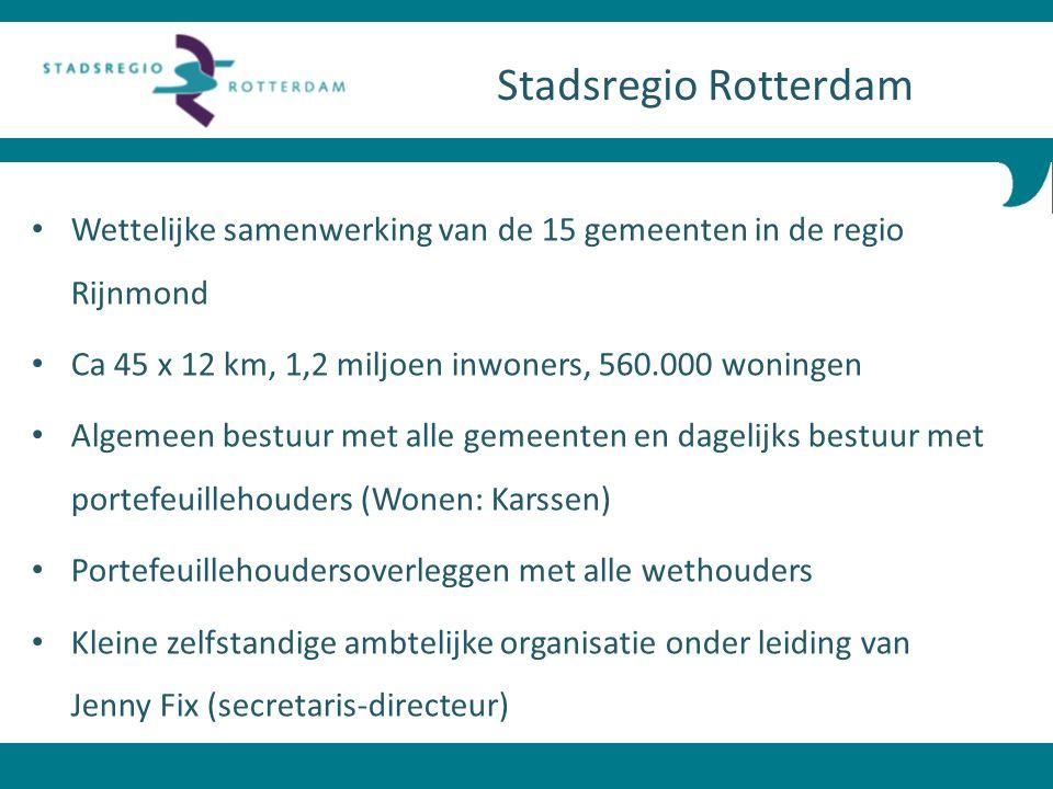 Wettelijke samenwerking van de 15 gemeenten in de regio Rijnmond Ca 45 x 12 km, 1,2 miljoen inwoners, 560.000 woningen Algemeen bestuur met alle gemee