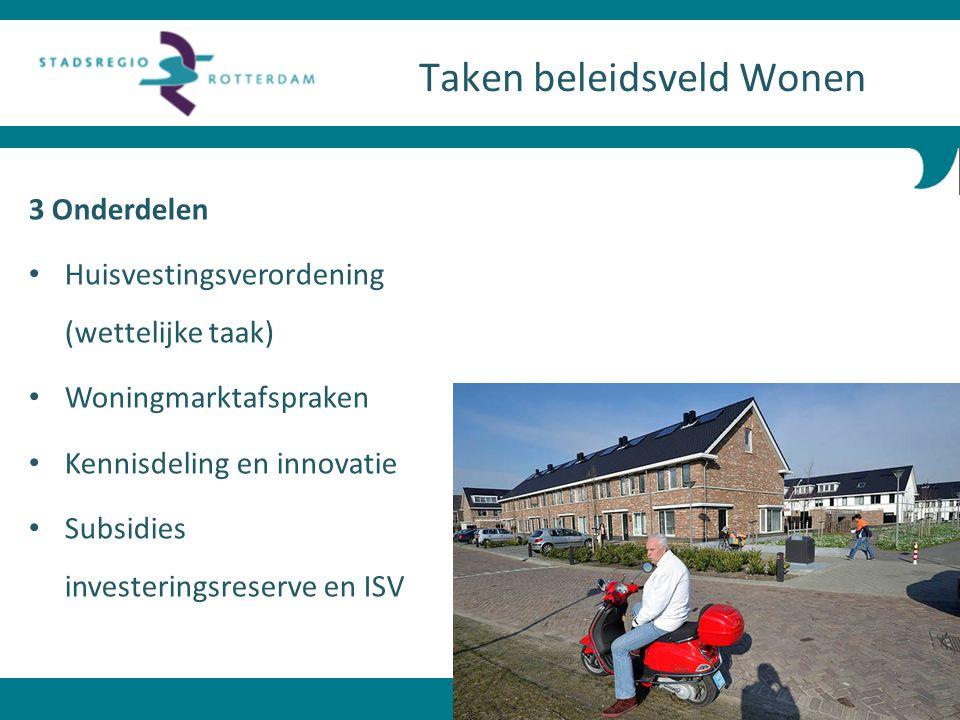 3 Onderdelen Huisvestingsverordening (wettelijke taak) Woningmarktafspraken Kennisdeling en innovatie Subsidies investeringsreserve en ISV Taken belei