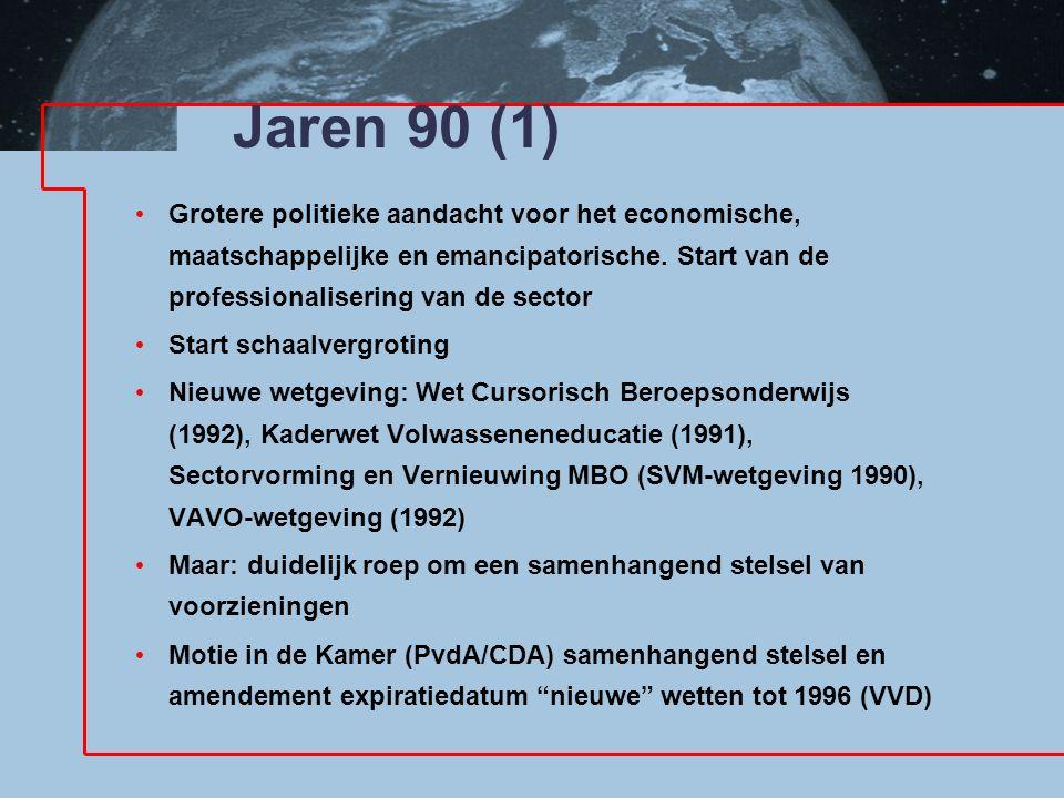 Jaren 90 (1) Grotere politieke aandacht voor het economische, maatschappelijke en emancipatorische. Start van de professionalisering van de sector Sta