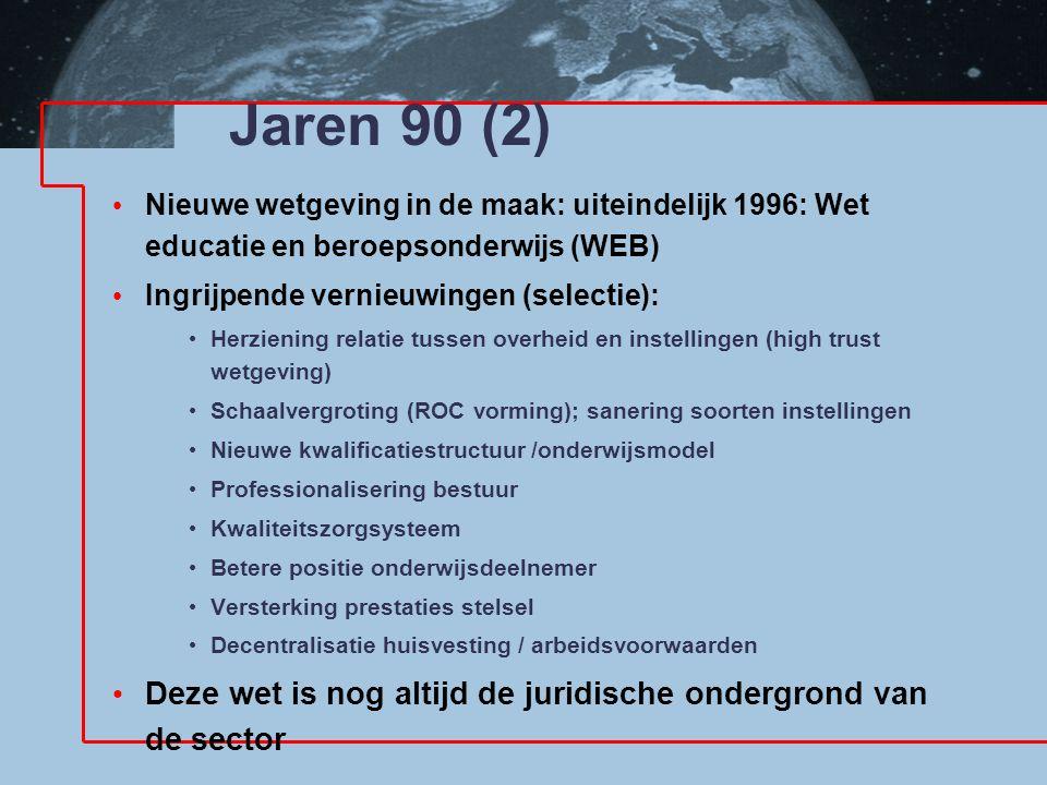 Jaren 90 (2) Nieuwe wetgeving in de maak: uiteindelijk 1996: Wet educatie en beroepsonderwijs (WEB) Ingrijpende vernieuwingen (selectie): Herziening r