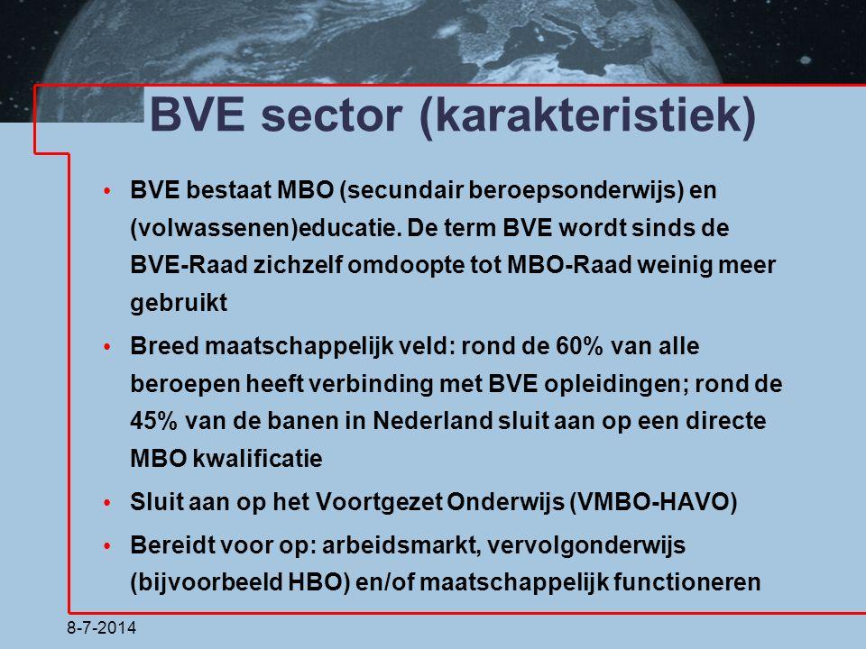 BVE sector (karakteristiek) BVE bestaat MBO (secundair beroepsonderwijs) en (volwassenen)educatie. De term BVE wordt sinds de BVE-Raad zichzelf omdoop